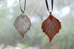 Real Birch Leaf Ornament | Electroformed Nature | Fall Leaf Ornament | Nature Gift
