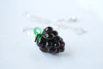 Ripe Blackberry Necklace | Berry Charm Necklace | Glass Berry Pendant - Enchanted Leaves - Nature Jewelry - Unique Handmade Gifts