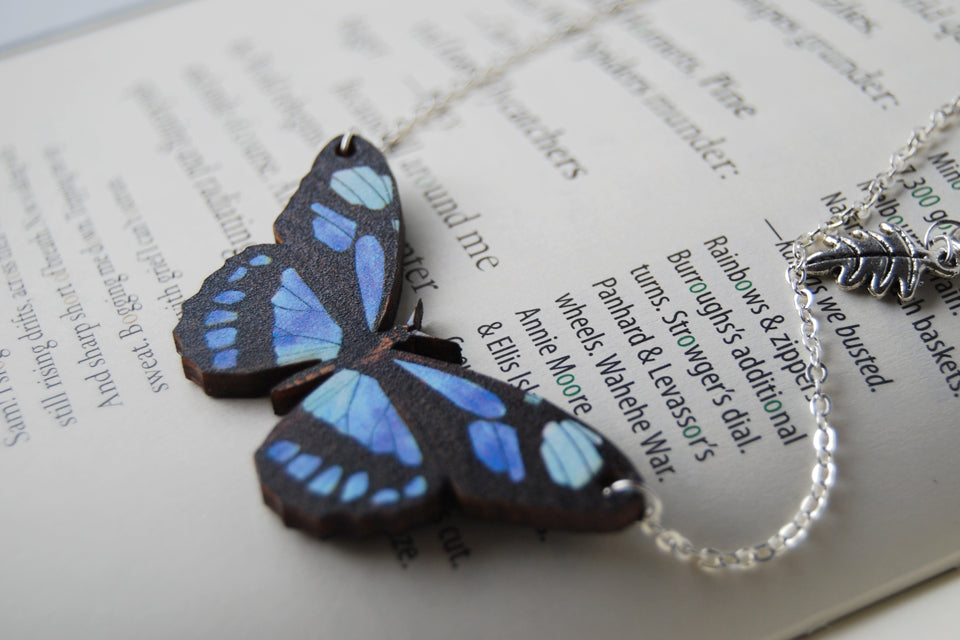 Blue Longwing Butterfly Necklace | Wooden Butterfly Pendant | Woodland Insect Butterfly Art Jewelry - Enchanted Leaves - Nature Jewelry - Unique Handmade Gifts
