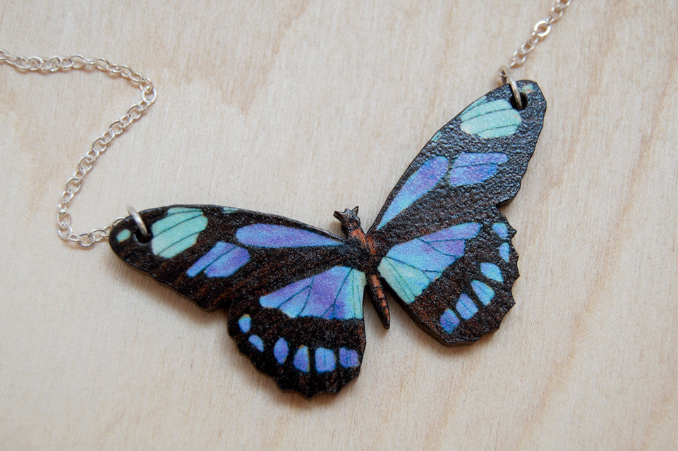 Blue Longwing Butterfly Necklace | Wooden Butterfly Pendant | Insect Jewelry | Woodland Butterfly Art - Enchanted Leaves - Nature Jewelry - Unique Handmade Gifts