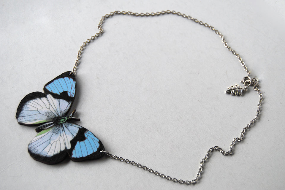 Butterfly Necklace Flower Jewelry Woodland Statement Necklace Nature Layering Necklace Charm Necklace Gifts Under 40 Insect Bug