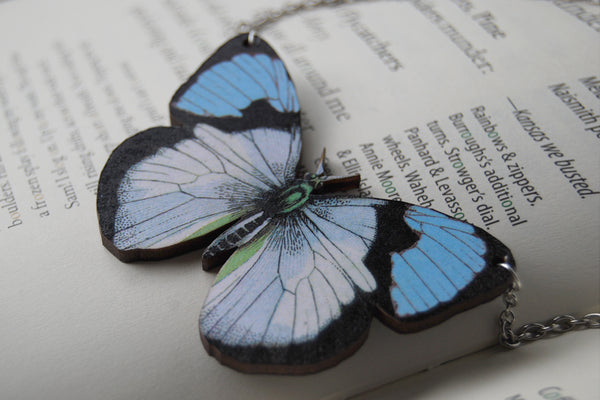 Blue Tip Butterfly Necklace | Wooden Butterfly Pendant | Insect Jewelry | Woodland Butterfly Art - Enchanted Leaves - Nature Jewelry - Unique Handmade Gifts
