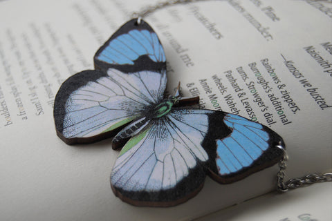 Blue Tip Butterfly Necklace