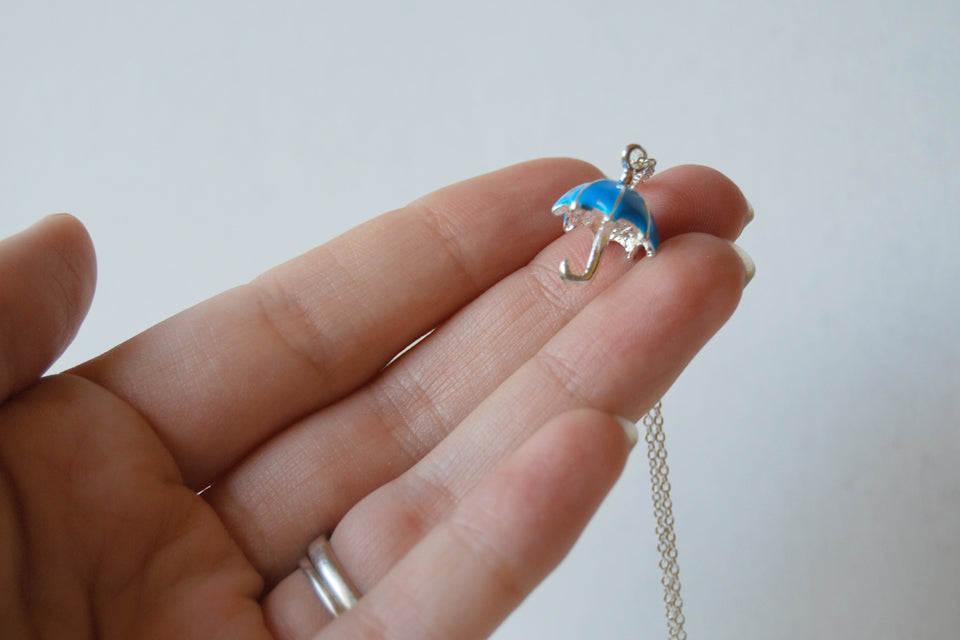 Let the Rain Come | Blue Umbrella Charm Necklace | Cute Umbrella Necklace - Enchanted Leaves - Nature Jewelry - Unique Handmade Gifts