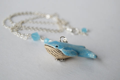 Blue Whale Necklace | Cute Whale Charm Jewelry | Handmade Blue Whale