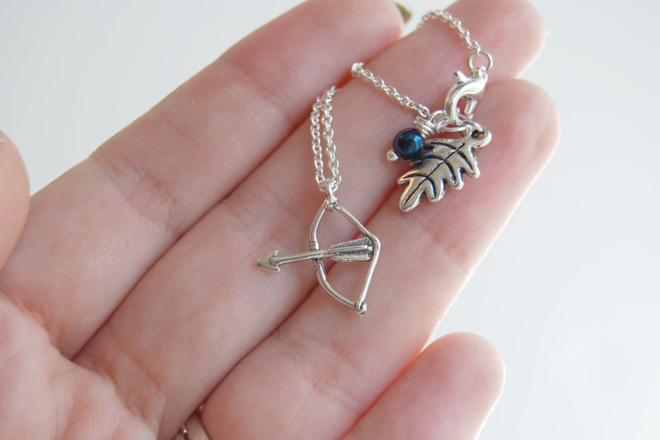 Shoot Straight | Silver Bow and Arrow Charm Necklace  | Cute Charm Necklace - Enchanted Leaves - Nature Jewelry - Unique Handmade Gifts