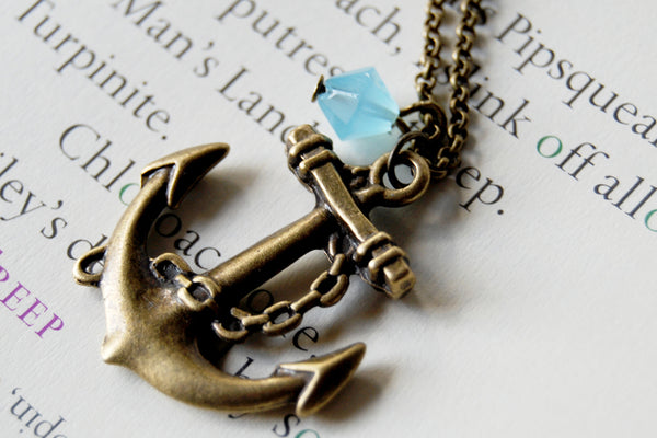 Brass Anchor Necklace | Anchor Charm Necklace | Nautical Jewelry - Enchanted Leaves - Nature Jewelry - Unique Handmade Gifts