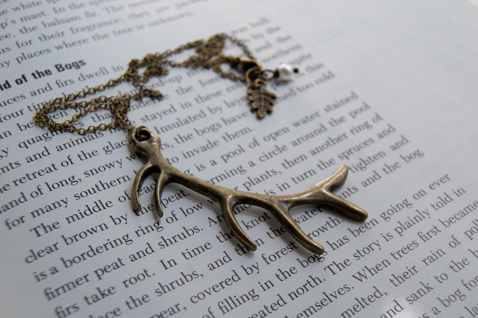 Antiqued Brass Antler Necklace | Woodland Deer Jewelry | Boho Antler Pendant - Enchanted Leaves - Nature Jewelry - Unique Handmade Gifts