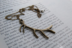 Antiqued Brass Antler Necklace | Woodland Deer Jewelry | Boho Antler Pendant
