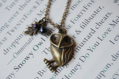 Brass Barn Owl Necklace | Owl Charm | Woodland Owl Necklace