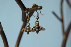 Brass Bee Earrings