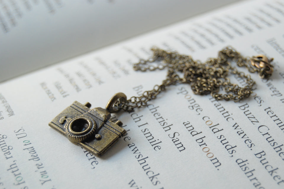 Tiny Camera Necklace - Enchanted Leaves - Nature Jewelry - Unique Handmade Gifts