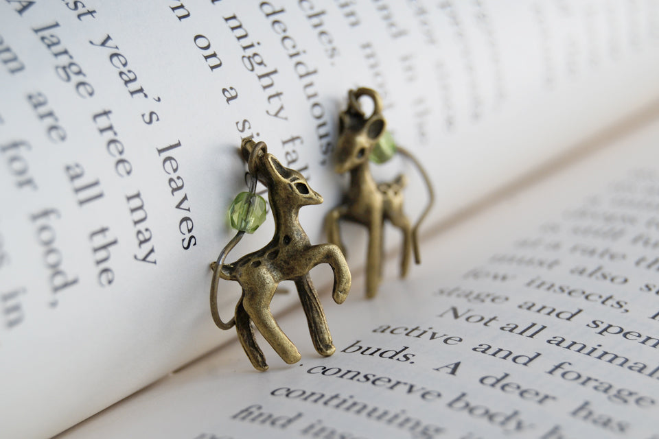 Little Brass Deer Earrings | Forest Deer Earrings | Deer Charm - Enchanted Leaves - Nature Jewelry - Unique Handmade Gifts