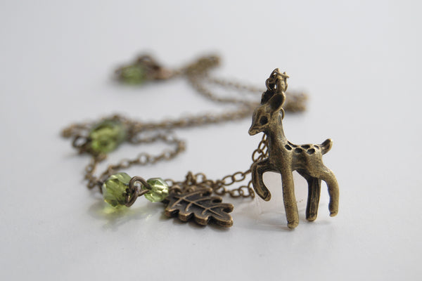 Little Brass Deer Necklace | Forest Deer Charm Necklace | Woodland Deer Pendant - Enchanted Leaves - Nature Jewelry - Unique Handmade Gifts