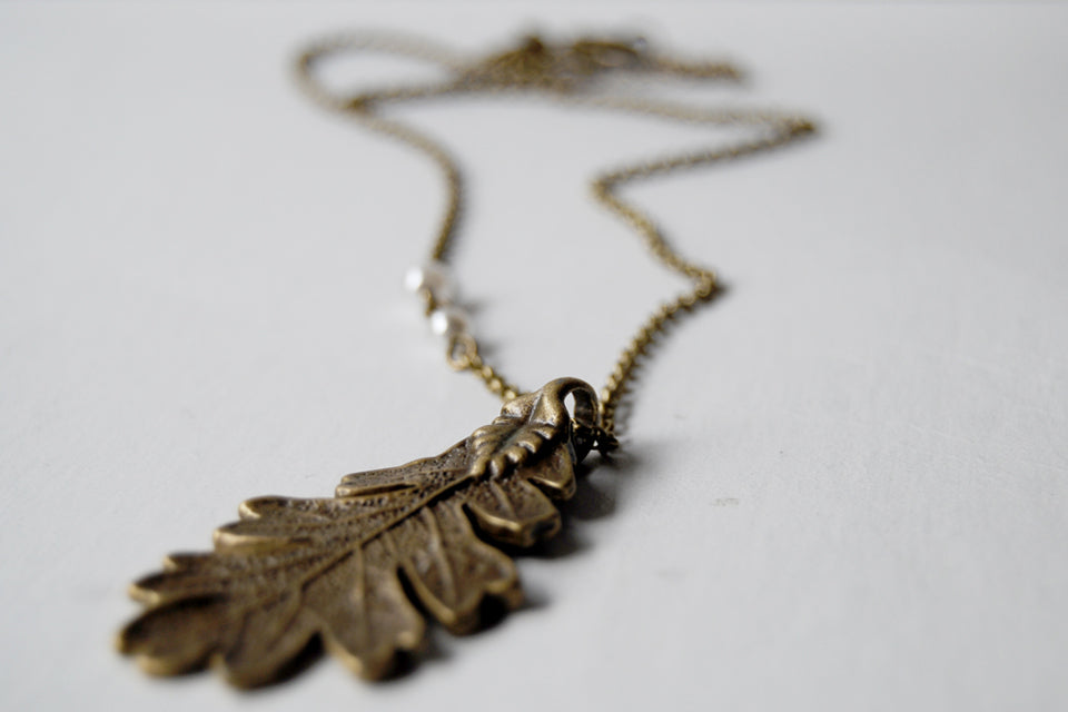 Brass Oak Leaf Necklace | Nature Jewelry | Woodland Leaf Necklace - Enchanted Leaves - Nature Jewelry - Unique Handmade Gifts