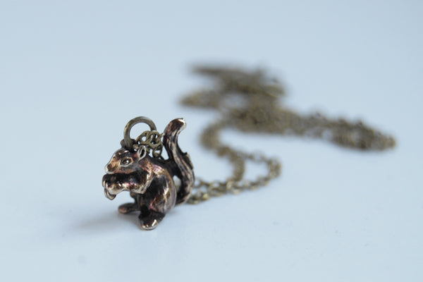 Brass Squirrel Necklace | Squirrel Charm | Woodland Necklace | Fall Squirrel - Enchanted Leaves - Nature Jewelry - Unique Handmade Gifts