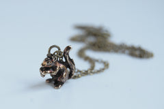 Brass Squirrel Necklace | Squirrel Charm | Woodland Necklace | Fall Squirrel