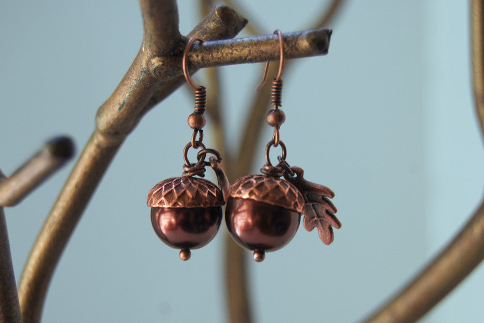 Copper Acorn Earrings | Pearl or Gemstone Acorn Charm Earrings | Fall Earrings | Nature Jewelry - Enchanted Leaves - Nature Jewelry - Unique Handmade Gifts