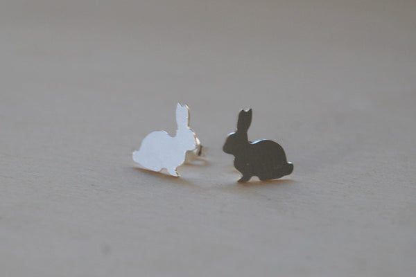 Silver Rabbit Stud Earrings | Woodland Bunny Jewelry | Forest Bunny Earrings - Enchanted Leaves - Nature Jewelry - Unique Handmade Gifts