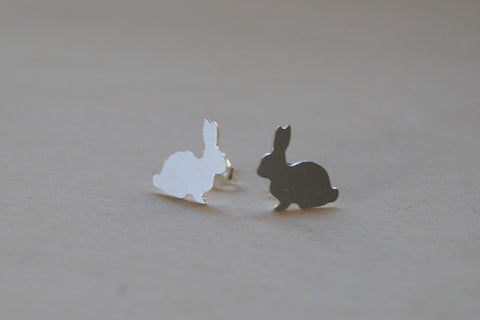 Silver Rabbit Stud Earrings | Woodland Bunny Jewelry | Forest Bunny Earrings