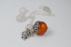Carnelian and Silver Acorn Necklace | Gemstone Acorn Charm Necklace | Cute Autumn Necklace | Nature Jewelry