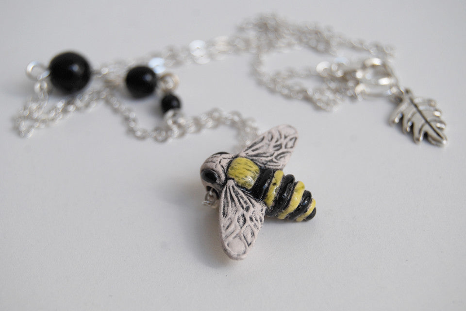 Large Bumble Bee Necklace | Handmade Ceramic Bee Pendant | Cute Bee Necklace - Enchanted Leaves - Nature Jewelry - Unique Handmade Gifts