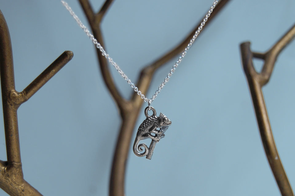 Chameleon Necklace | Cute Chameleon Charm Jewelry | Silver Chameleon - Enchanted Leaves - Nature Jewelry - Unique Handmade Gifts