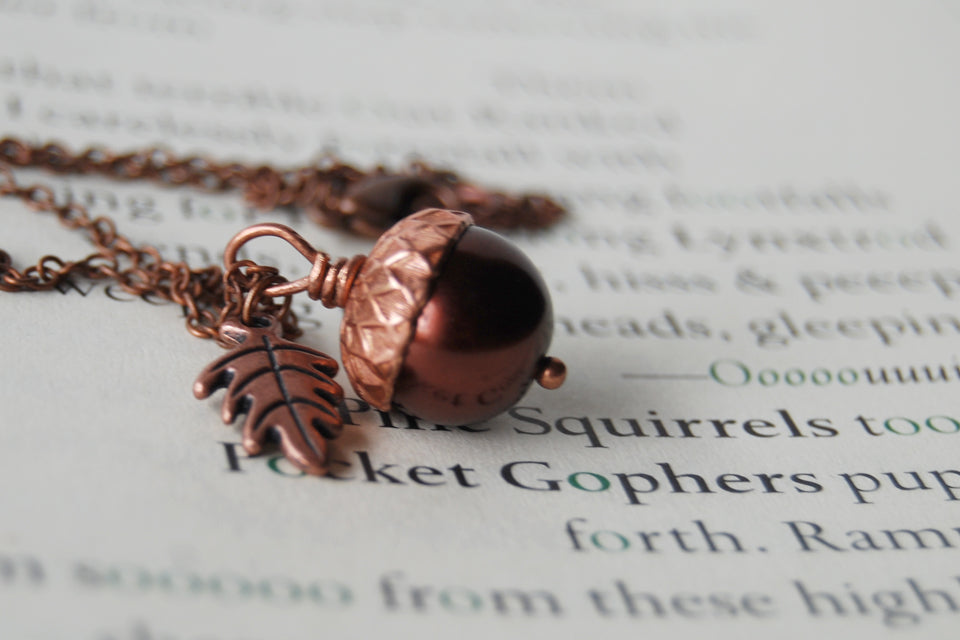 Chocolate and Copper Pearl Acorn Necklace | Gemstone Acorn Charm Necklace | Cute Autumn Necklace | Nature Jewelry - Enchanted Leaves - Nature Jewelry - Unique Handmade Gifts
