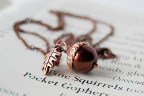 Chocolate and Copper Pearl Acorn Necklace