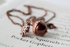 Chocolate and Copper Pearl Acorn Necklace | Gemstone Acorn Charm Necklace | Cute Autumn Necklace | Nature Jewelry