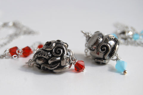 Coiled Octopus Necklace | Octopus Charm Jewelry | Nautical Pendant