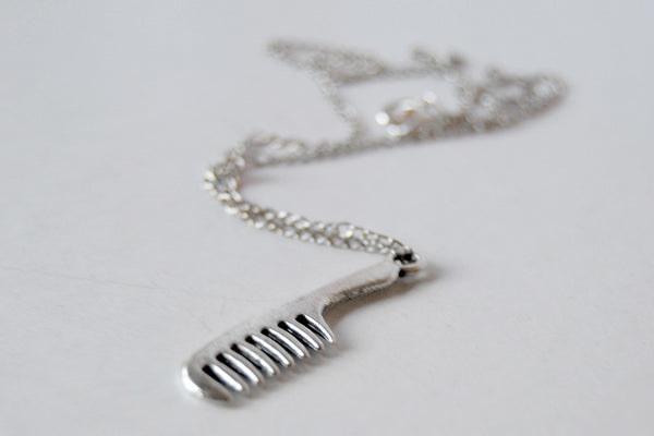 Silver Comb Necklace | Comb Charm Necklace | Hair Stylist Jewelry - Enchanted Leaves - Nature Jewelry - Unique Handmade Gifts