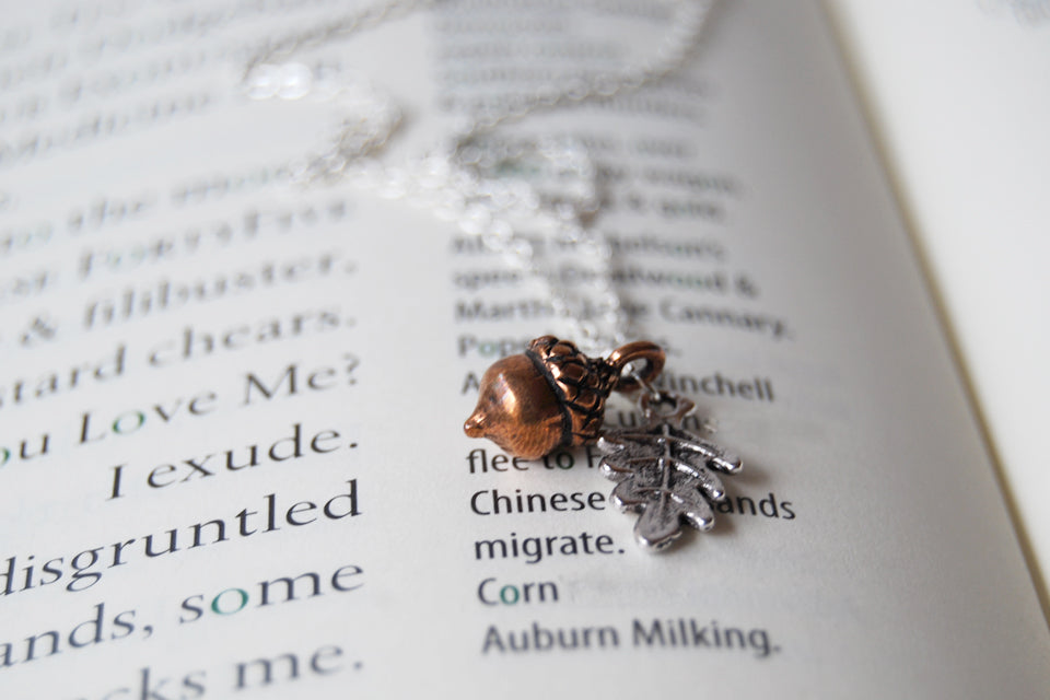 Teeny Tiny Copper Acorn Necklace - Enchanted Leaves - Nature Jewelry - Unique Handmade Gifts