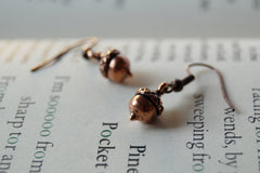 Tiny Copper Acorn Earrings