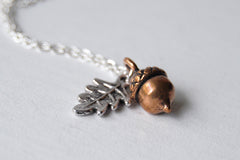 Teeny Tiny Copper Acorn Necklace