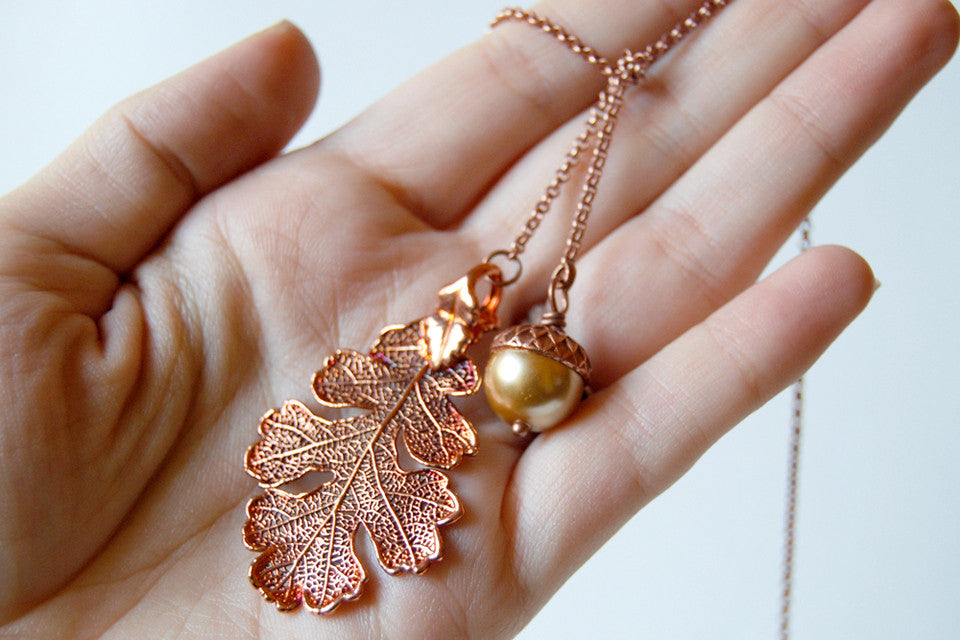 Copper Acorn and Oak Leaf Lariat | Autumn Jewelry | Electroformed Necklace | Fall Leaf Necklace - Enchanted Leaves - Nature Jewelry - Unique Handmade Gifts