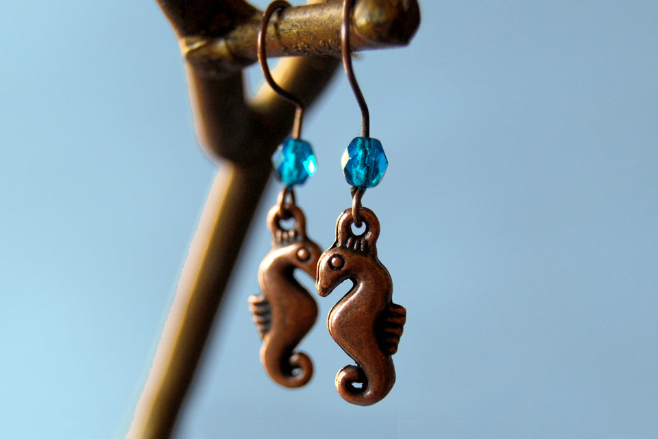 Copper Seahorse Earrings | Cute Sea Horse Charm | Ocean Jewelry - Enchanted Leaves - Nature Jewelry - Unique Handmade Gifts