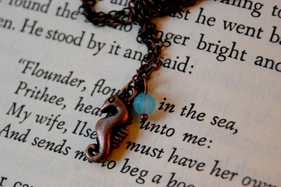 Copper Seahorse Necklace | Cute Sea Horse Charm Jewelry | Ocean Jewelry - Enchanted Leaves - Nature Jewelry - Unique Handmade Gifts