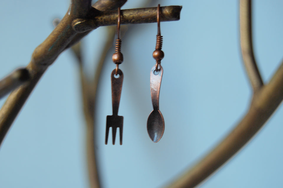 Tiny Copper Utensil Earrings - Enchanted Leaves - Nature Jewelry - Unique Handmade Gifts