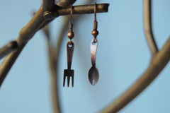 Tiny Copper Utensil Earrings