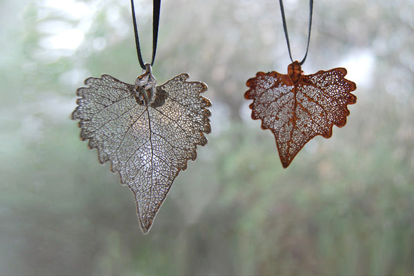 Real Cottonwood Leaf Ornament  | Electroformed Nature | Fall Leaf Ornament | Nature Gift - Enchanted Leaves - Nature Jewelry - Unique Handmade Gifts
