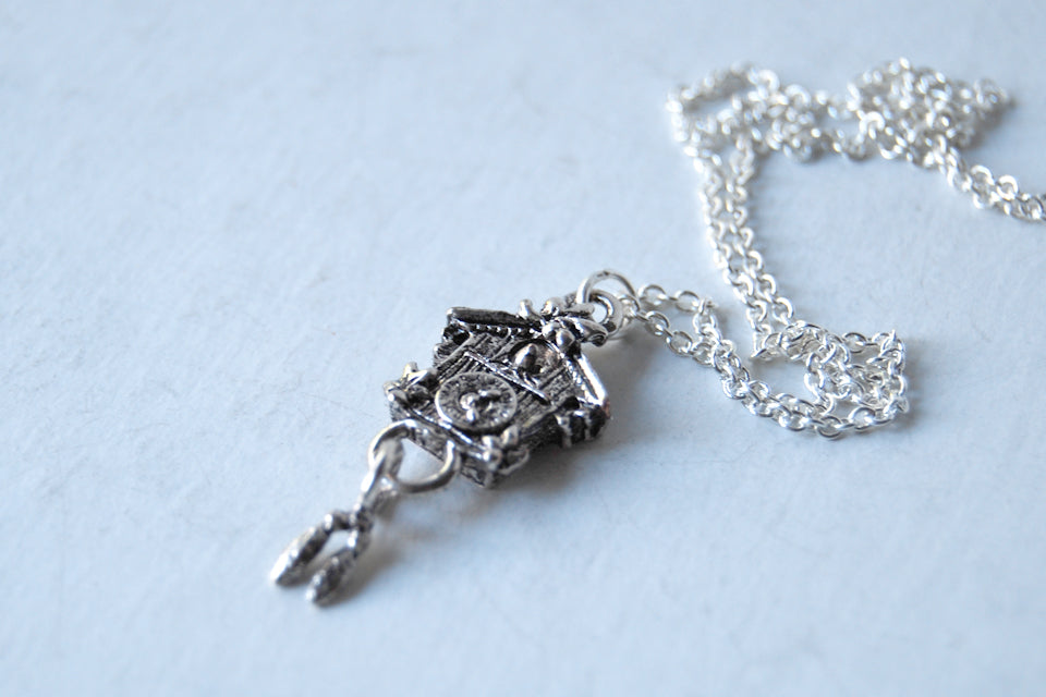 Cuckoo Clock Necklace | Cute Silver Charm Necklace - Enchanted Leaves - Nature Jewelry - Unique Handmade Gifts