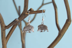 Curious Little Hedgehog Earrings | Cute Silver Hedgehog Charm Earrings | Hedgie Jewelry
