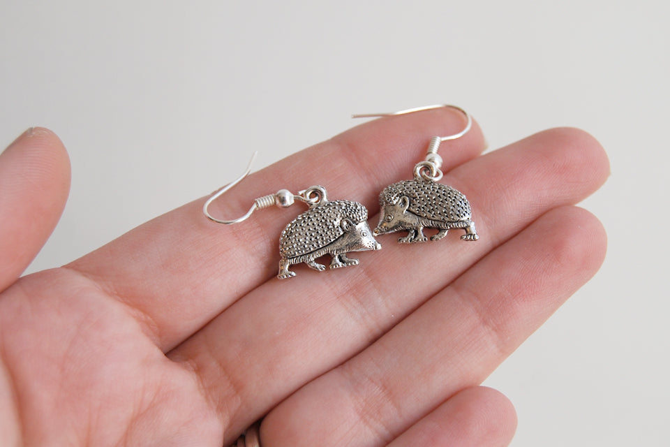 Curious Little Hedgehog Earrings | Cute Silver Hedgehog Charm Earrings | Hedgie Jewelry - Enchanted Leaves - Nature Jewelry - Unique Handmade Gifts