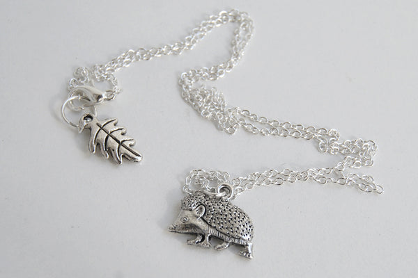 Curious Little Hedgehog Necklace | Silver Hedgehog Charm Necklace | Cute Hedgie Jewelry - Enchanted Leaves - Nature Jewelry - Unique Handmade Gifts