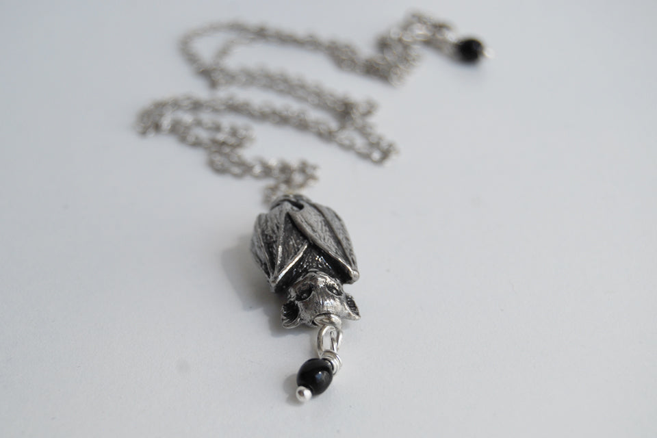 Adorable Bat Necklace | Silver Bat Necklace | Cute Bat Charm - Enchanted Leaves - Nature Jewelry - Unique Handmade Gifts