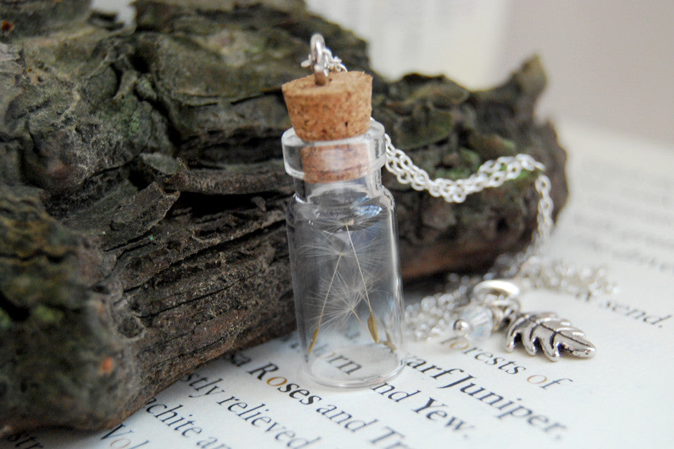 Four Wishes | Dandelion Wish Bottle Necklace | Whimsical Dandelion Terrarium Necklace - Enchanted Leaves - Nature Jewelry - Unique Handmade Gifts