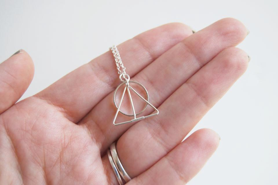 Simple Deathly Hallows Necklace | Harry Potter Necklace | Silver Deathly Hallows Pendant - Enchanted Leaves - Nature Jewelry - Unique Handmade Gifts
