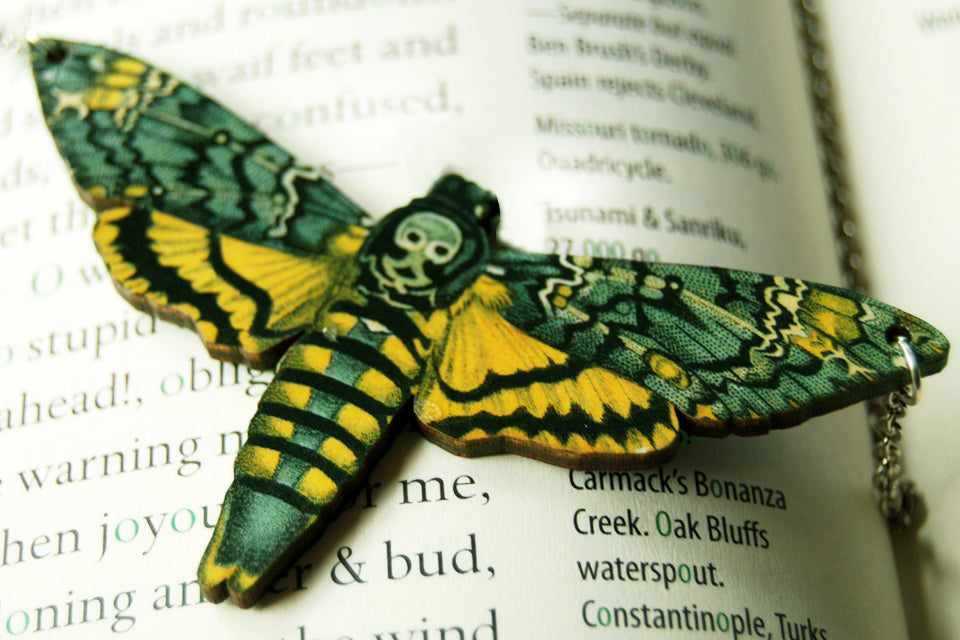 Large Death's Head Moth Necklace | Moth Jewelry | Insect Jewelry | Moth Art Pendant - Enchanted Leaves - Nature Jewelry - Unique Handmade Gifts