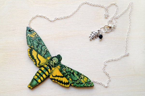 Death's Head Moth Necklace | Moth Jewelry | Insect Jewelry | Moth Art Pendant - Enchanted Leaves - Nature Jewelry - Unique Handmade Gifts